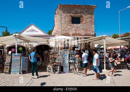 Historic Bazaar and shopping area at Cunda Island - Stock Photo