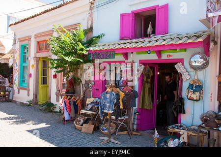 Cunda İsland, Balikesir, Turkey - July 18, 2015:  Narrow street of old touristic town, Cunda Alibey Island, Ayvalik. - Stock Photo