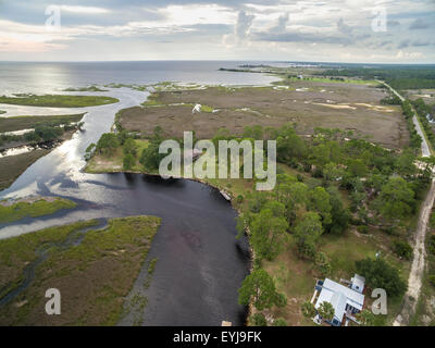 Salt marsh lining Fish Creek, Big Bend Sea Grasses Aquatic Preserve, Florida - Stock Photo