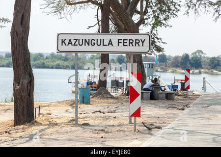 Sign for the Kazungula Ferry, a passenger and commercial vehicle pontoon ferry across the Zambezi River on the border - Stock Photo