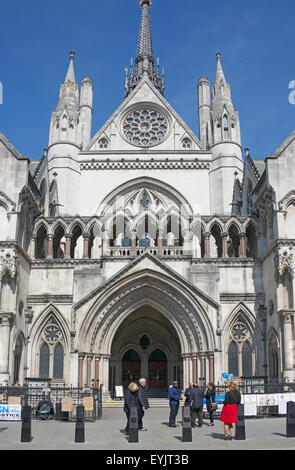 Entrance Royal Courts of Justice London England - Stock Photo