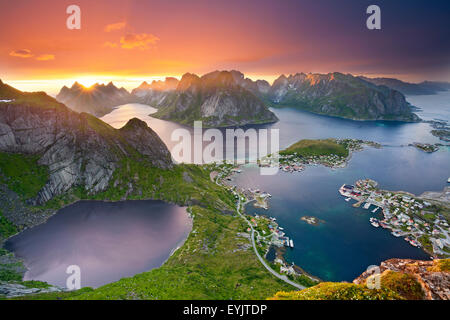 Norway. View from Reinebringen at Lofoten Islands, located in Norway, during summer sunset. - Stock Photo