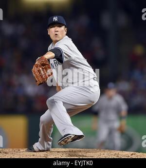 Arlington, Texas, USA. 29th July, 2015. Masahiro Tanaka (Yankees) MLB : New York Yankees starting pitcher Masahiro - Stock Photo