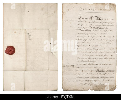 Old handwritten letter. Antique paper sheet with red wax seal. Manuscript. Parchment. - Stock Photo