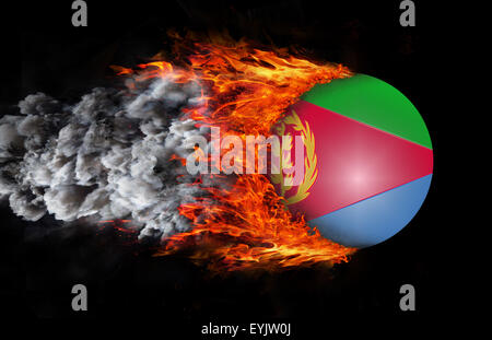 Concept of speed - Flag with a trail of fire and smoke - Eritrea - Stock Photo