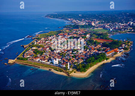 Sri Lanka, Southern Province, South Coast beach, Galle town, Dutch fort, UNESCO World Heritage site, aerial view - Stock Photo
