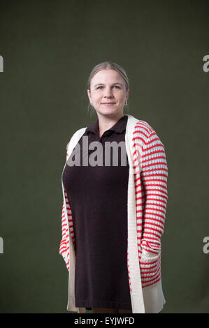 TV news producer, Erin Lange, appearing at the Edinburgh International Book Festival. - Stock Photo