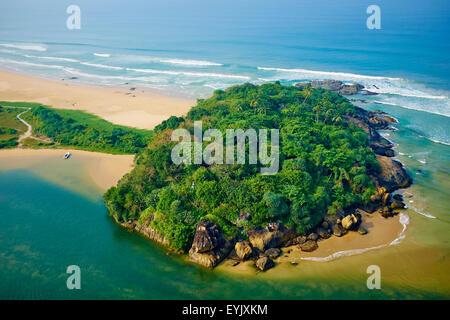 Sri Lanka, West Coast, Bentota, beach and river of Bentota, aerial view - Stock Photo