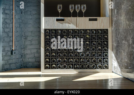 Special shelf for storing wine - Stock Photo