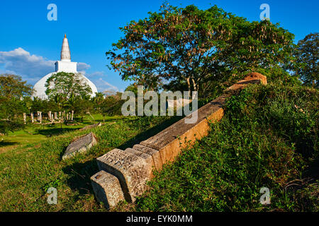 Sri Lanka, North Central Province, Anuradhapura, historic capital of Sri Lanka, UNESCO World Heritage Site, Ruvanvelisaya - Stock Photo