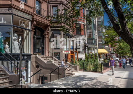 Shoppers and visitors along Newbury Street ,Boston's premier shopping destination, Boston ,Massachusetts - Stock Photo
