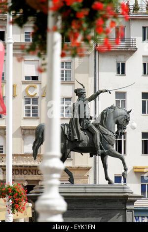 Statue of King Josip at the Main Square, Zagreb, Croatia - Stock Photo