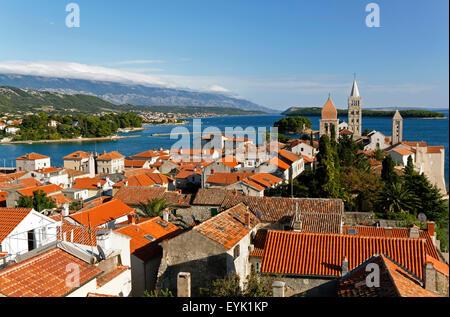 Rooftop view over Rab Town, Kvarner Gulf, Croatia, Europe - Stock Photo