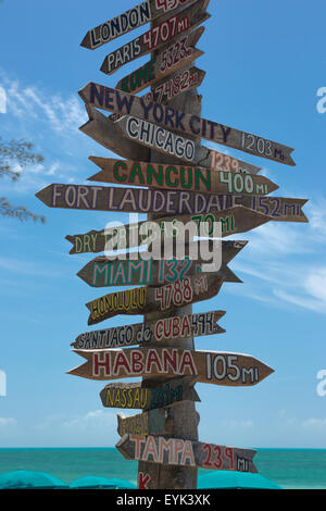 MULTI CITY DESTINATION SIGNPOST FORT ZACHARY TAYLOR STATE PARK BEACH KEY WEST FLORIDA USA - Stock Photo