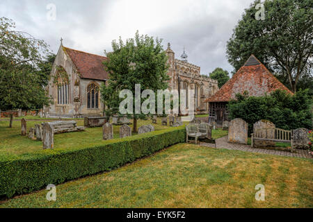 St Mary's Church with the ancient bellcage ( on the right ), East Bergholt, Suffolk, East Anglia, England, Great - Stock Photo