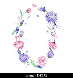 Oval decorative border with summer pink and purple flowers isolated on white background - Stock Photo