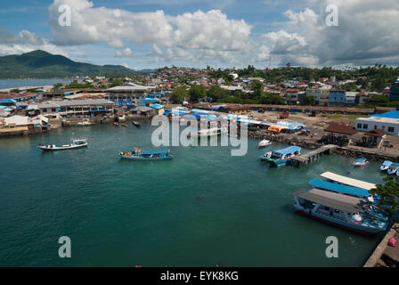 Aerial view of old harbor in Manado. Starting point to Bunaken Island. - Stock Photo