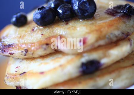 Pancakes made with fresh blueberries up close - Stock Photo