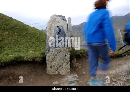 Group of hikers on Pgy Track climbing Mount Snowdon - Stock Photo