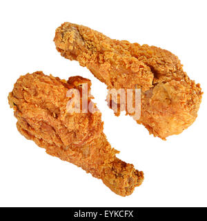 Fried Chicken Drumsticks Isolated on White Background - Stock Photo