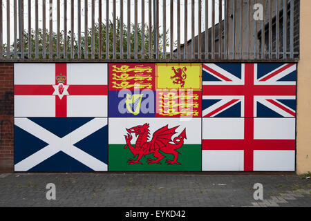Flags of British Isles, Unionist mural in Belfast - Stock Photo