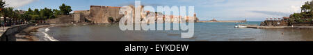 Panorama of Collioure in Southern France. - Stock Photo