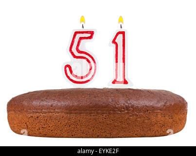 Birthday Cake With Candles Number 51 Isolated On White Background