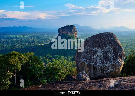 Sri Lanka, Ceylon, North Central Province, Sigiriya Lion Rock fortress, UNESCO world heritage site - Stock Photo