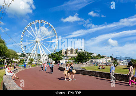 The 'English Riviera Wheel' on the promenade in Torquay in summer 2015, Torbay, Devon, England, UK - Stock Photo