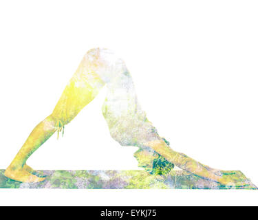 Nature harmony healthy lifestyle concept - double exposure image of  woman doing yoga asana downward facing dog - Stock Photo
