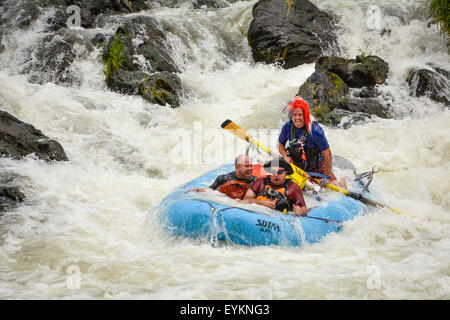 Whitewater rafting fun on the Wild & Scenic Rogue River in Oregon - Stock Photo