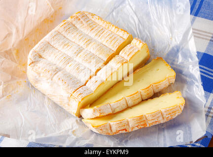 French soft cheese made mainly from milk from the Vosges - Stock Photo