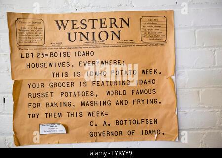 Blackfoot, Idaho - A telegram displayed at the Idaho Potato Museum. - Stock Photo