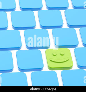 Happy smile keyboard button composition - Stock Photo
