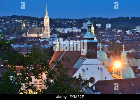 Scenery of churches in Graz by the blue hour, - Stock Photo