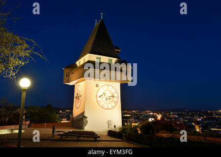 Scenery of the clock tower in Graz by the blue hour, - Stock Photo