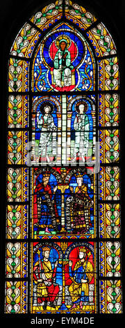STRASBOURG, FRANCE - MAY 9, 2015: Stained glass depicting King Solomon and King David in the cathedral of Strasbourg, - Stock Photo