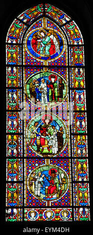 STRASBOURG, FRANCE - MAY 9, 2015: Stained glass depicting The Judgment of Solomon in the cathedral of Strasbourg, - Stock Photo