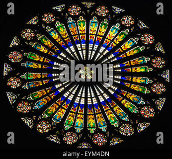 STRASBOURG, FRANCE - MAY 9, 2015: Rose window in the Notre Dame cathedral of Strasbourg, France - Stock Photo