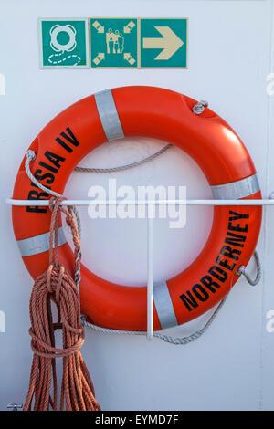 Lifebelt on the ferryboat 'FRISIA IV', Norderney, East Frisian Island, Lower Saxony, Germany, Europe, - Stock Photo