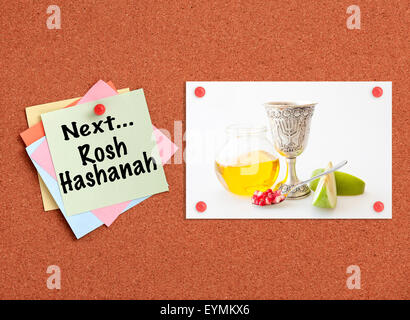 Cork board with Jewish holiday - Rosh Hashanah related theme - Stock Photo