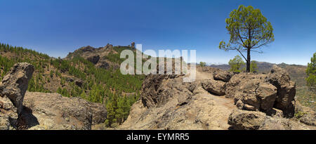 Inland Central Gran Canaria, view towards Roque Nublo from east - Stock Photo