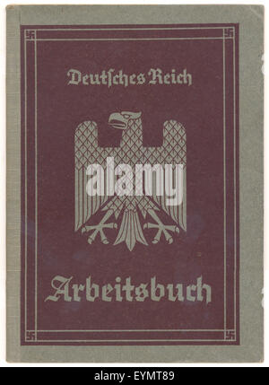 An employment record book or Arbeitsbuch of the German Empire, 1940, Germany, Europe, - Stock Photo