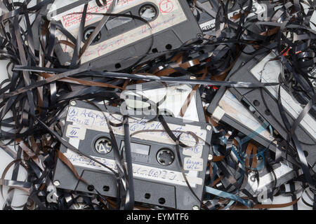 Jammed cassette tapes, - Stock Photo