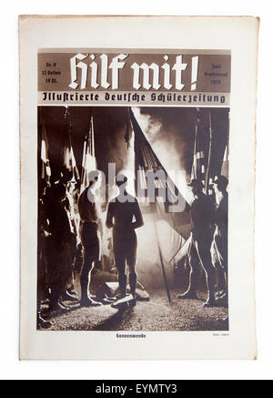 Nazi-German Propaganda for children, pupil magazine 'Help' or 'Hilf mit', 1934, - Stock Photo