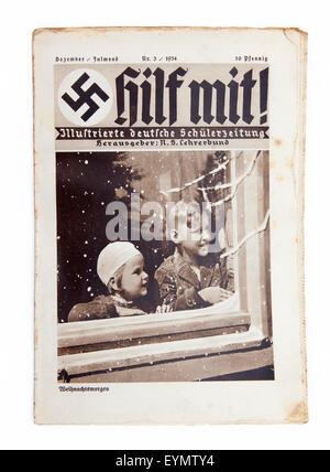 Nazi-German Propaganda for children, pupil magazine 'Help' or 'Hilf mit', 1934, - Stock Photo