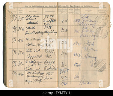 Old German post office recorded delivery book from 1931, recording of entries and signatures, German Empire, Europe,