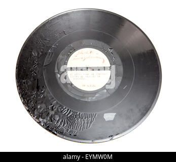 Old shellac record, early sample pressure - Stock Photo