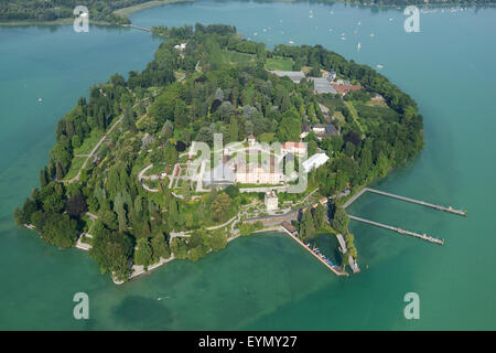 MAINAU ISLAND (aerial view). Island on Lake Constance (Bodensee in German), In Konstanz, Baden-Wurttemberg, Germany. - Stock Photo