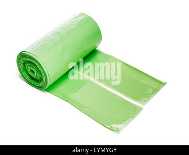 Roll of green plastic trashbags isolated on white with naturan shadow. - Stock Photo